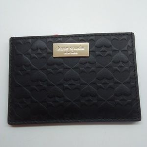Kate Spade New Black Embossed Leather Card Holder